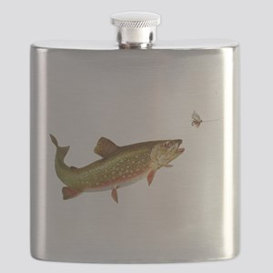 Vintage trout fishing illustration Flask