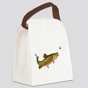 Vintage trout fishing illustration Canvas Lunch Ba
