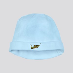 Vintage trout fishing illustration baby hat