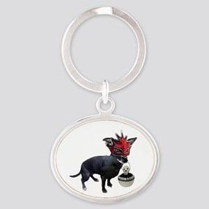 Dog in Mask Oval Keychain