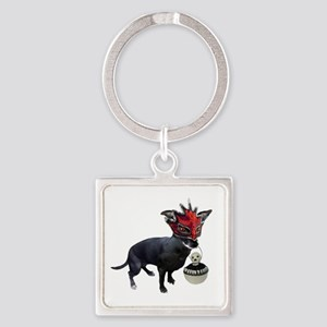 Dog in Mask Square Keychain