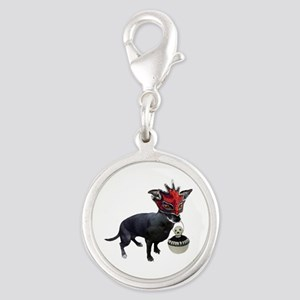 Dog in Mask Silver Round Charm