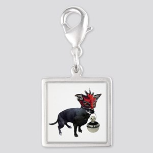 Dog in Mask Silver Square Charm