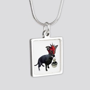 Dog in Mask Silver Square Necklace