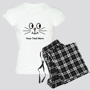 Cute Cat Face, Black Text. Pajamas