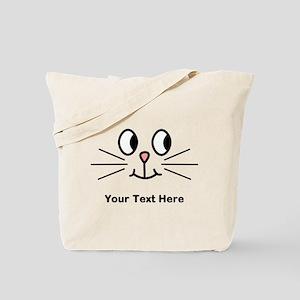 Cute Cat Face, Black Text. Tote Bag