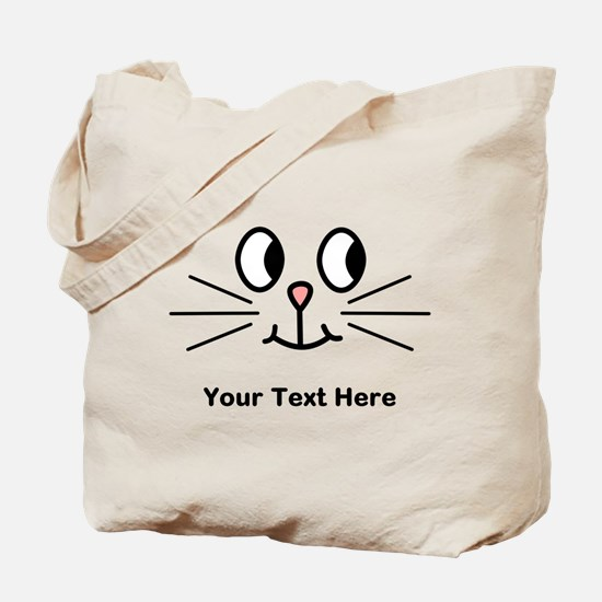 Cute Cat Face, Black Text. Tote Bag