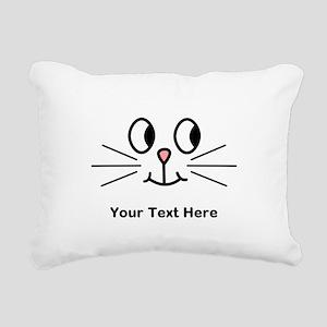 Cute Cat Face, Black Text. Rectangular Canvas Pill