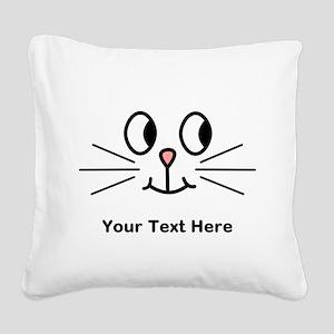 Cute Cat Face, Black Text. Square Canvas Pillow
