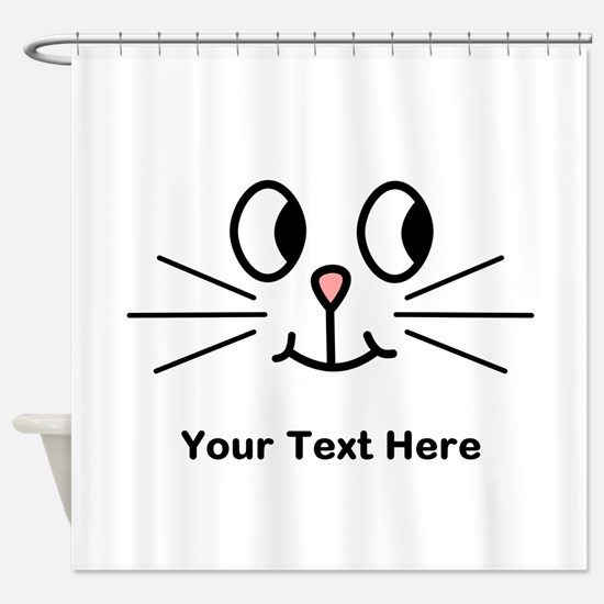 Cute Cat Face, Black Text. Shower Curtain