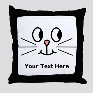 Cute Cat Face, Black Text. Throw Pillow