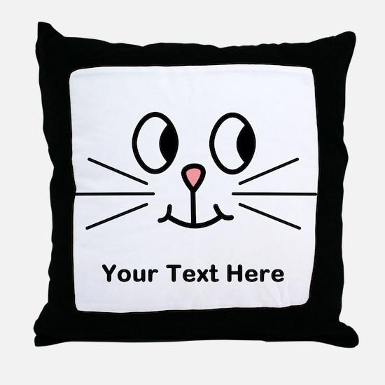 Cute Cat Face, Black Text. Throw Pillow