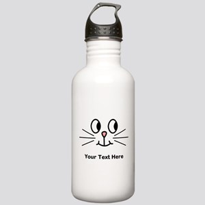 Cute Cat Face, Black Text. Water Bottle