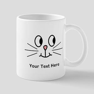 Cute Cat Face, Black Text. Mug