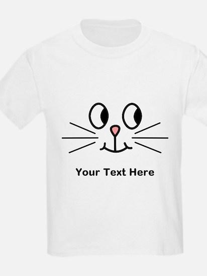 Cute Cat Face, Black Text. T-Shirt