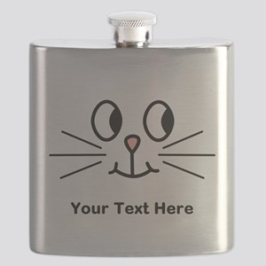 Cute Cat Face, Black Text. Flask