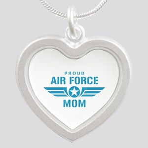 Proud Air Force Mom W Silver Heart Necklace