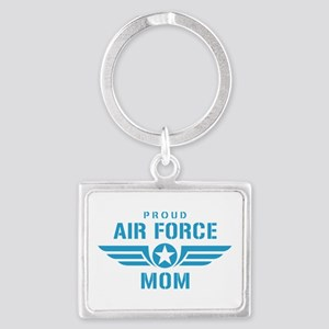 Proud Air Force Mom W Landscape Keychain