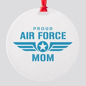 Proud Air Force Mom W Round Ornament