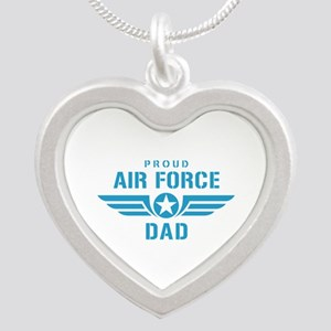 Proud Air Force Dad W Silver Heart Necklace