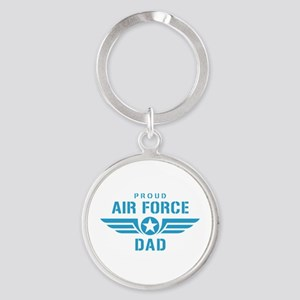 Proud Air Force Dad W Round Keychain