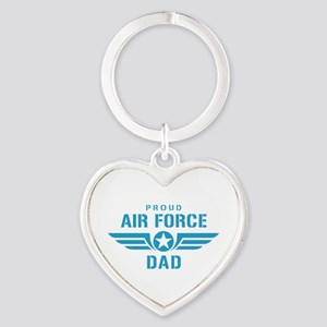 Proud Air Force Dad W Heart Keychain
