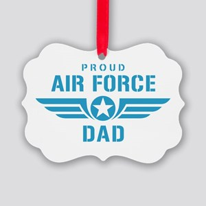 Proud Air Force Dad W Picture Ornament