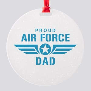 Proud Air Force Dad W Round Ornament