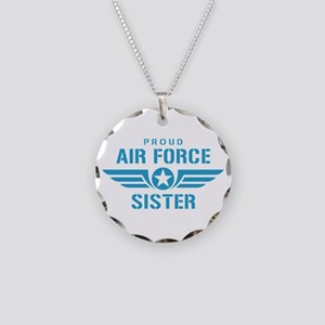 Proud Air Force Sister W Necklace Circle Charm