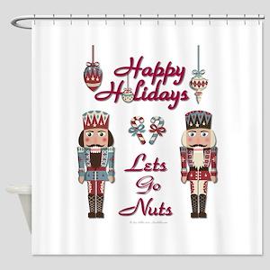 Happy Holidays Nutcracker Shower Curtain