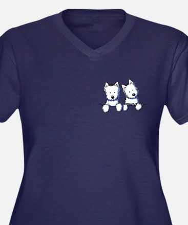 Pocket Westie Duo Women's Plus Size V-Neck Dark T-