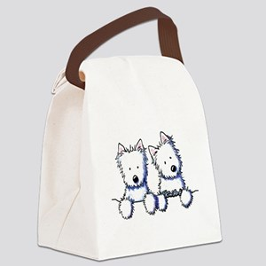 Pocket Westie Duo Canvas Lunch Bag