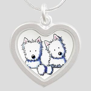 Pocket Westie Duo Silver Heart Necklace