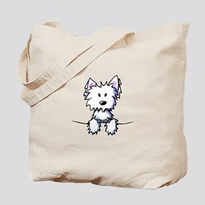Pocket Westie Caricature Tote Bag