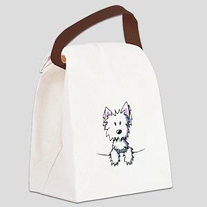 Pocket Westie Caricature Canvas Lunch Bag