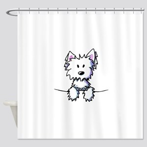 Pocket Westie Caricature Shower Curtain
