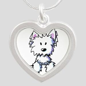 Pocket Westie Caricature Silver Heart Necklace
