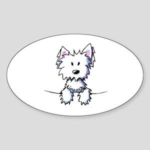 Pocket Westie Caricature Sticker (Oval)