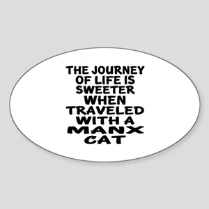 Traveled With manx Cat Sticker (Oval)