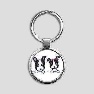 KiniArt Boston Terrier Round Keychain