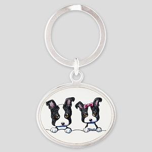 KiniArt Boston Terrier Oval Keychain