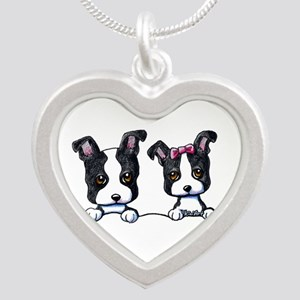 KiniArt Boston Terrier Silver Heart Necklace