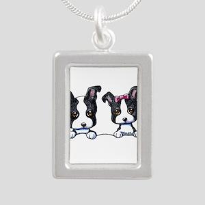 KiniArt Boston Terrier Silver Portrait Necklace