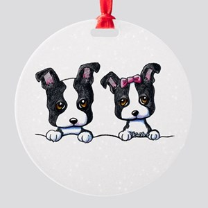 KiniArt Boston Terrier Round Ornament