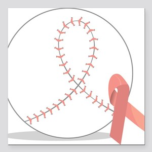"""Baseball for Breast Cancer Square Car Magnet 3"""" x"""