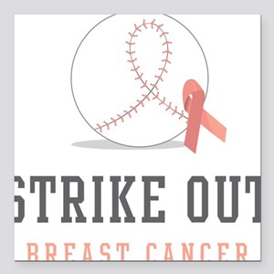 """Strike Out Square Car Magnet 3"""" x 3"""""""