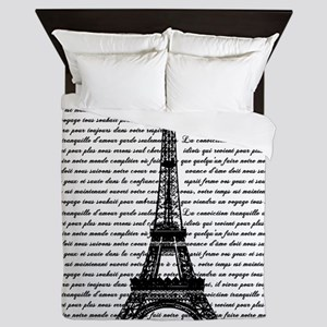 Vintage Eiffel Tower Queen Duvet