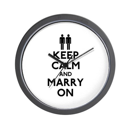 Gay Keep Calm and Marry On Wall Clock