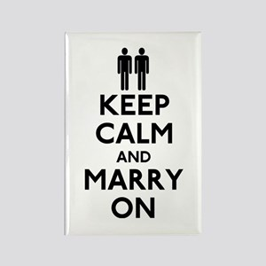 Gay Keep Calm and Marry On Rectangle Magnet