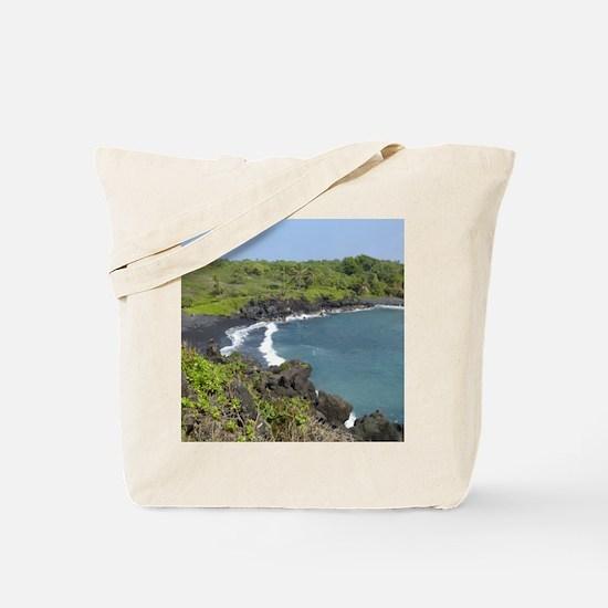 Black Sand Beach Maui Tote Bag